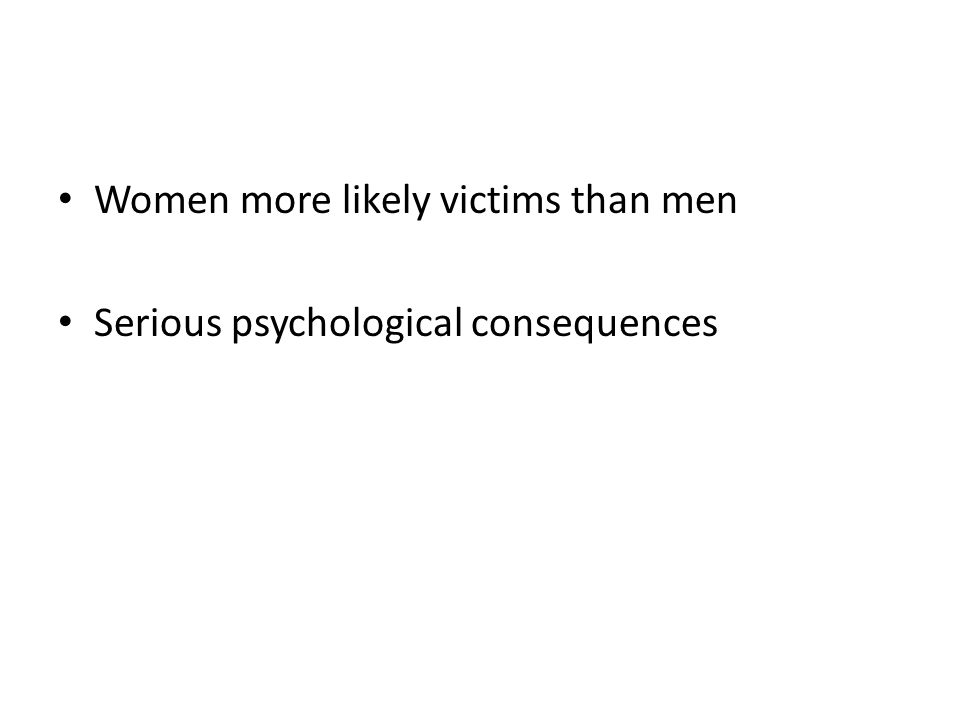 Women more likely victims than men