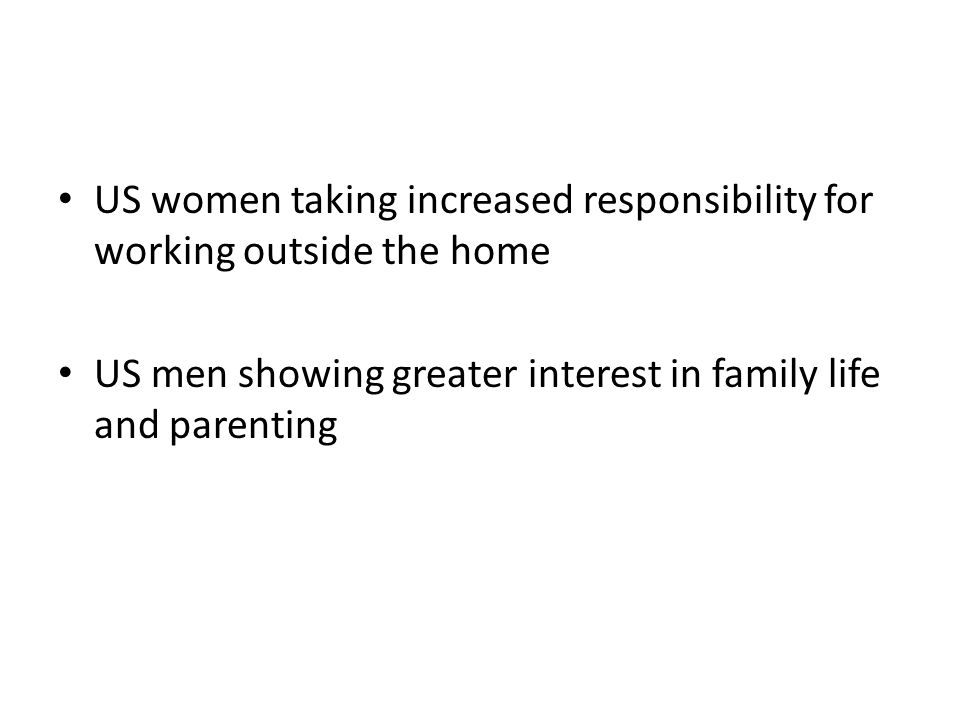 US women taking increased responsibility for working outside the home