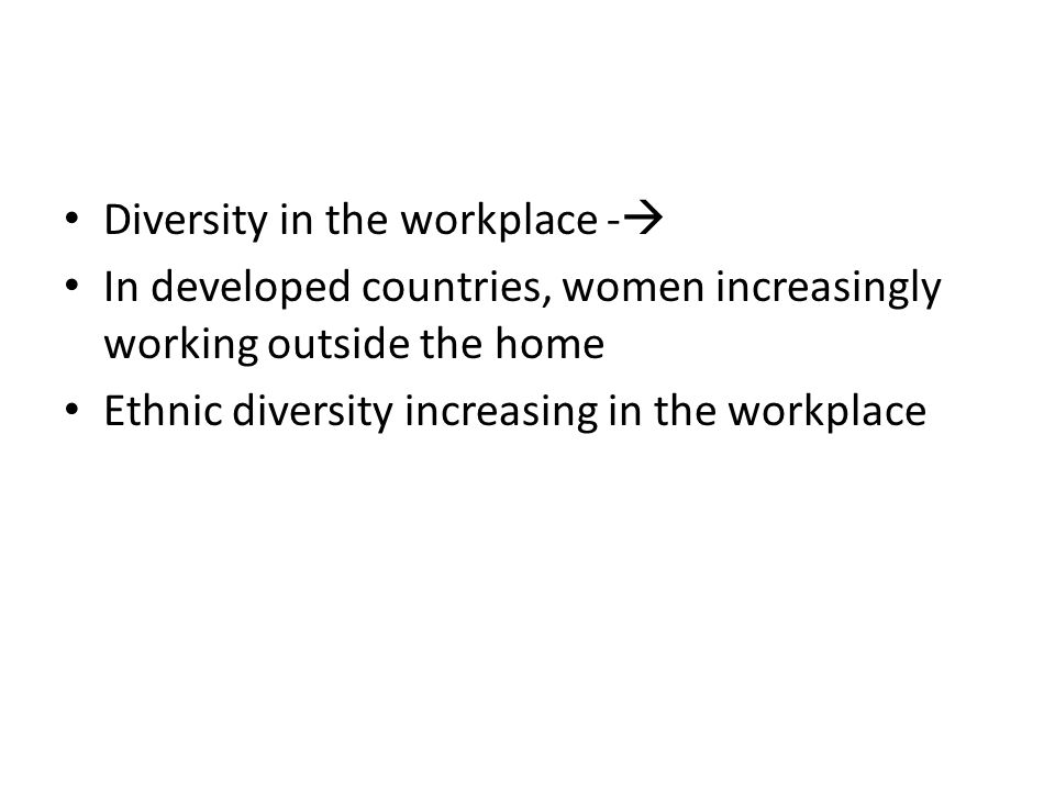 Diversity in the workplace -
