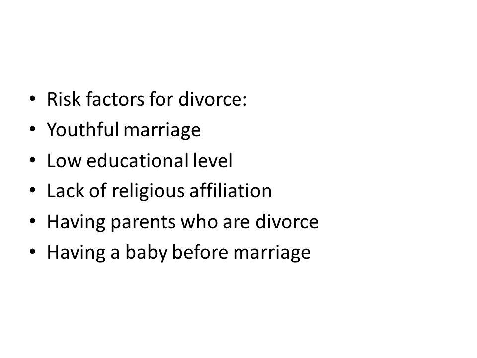 Risk factors for divorce: