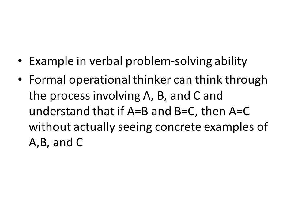 Example in verbal problem-solving ability