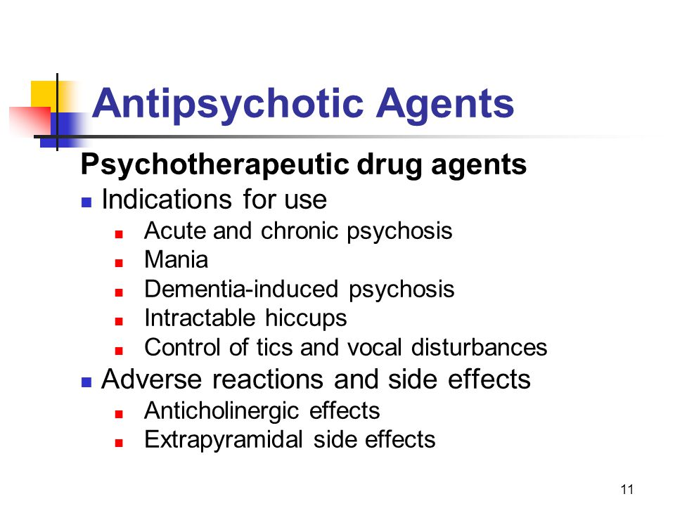 Antipsychotic Agents Psychotherapeutic drug agents Indications for use