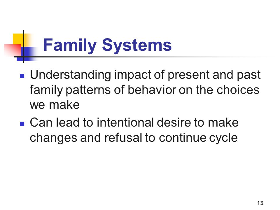 Family Systems Understanding impact of present and past family patterns of behavior on the choices we make.