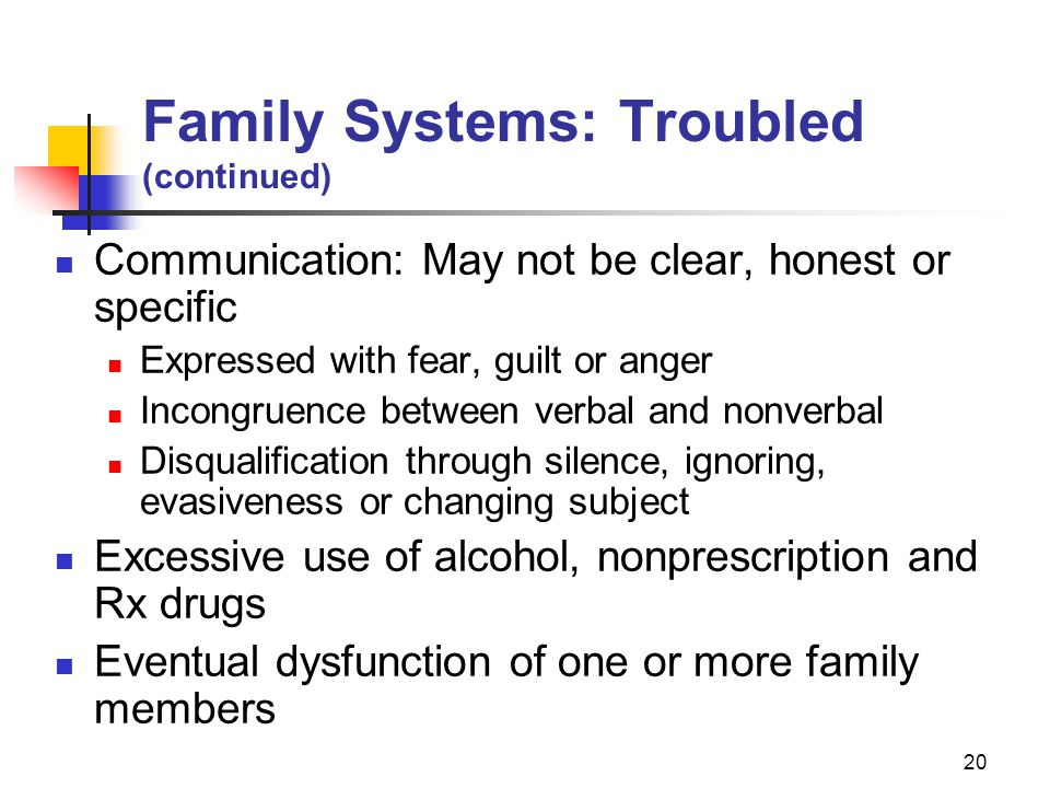 Family Systems: Troubled (continued)