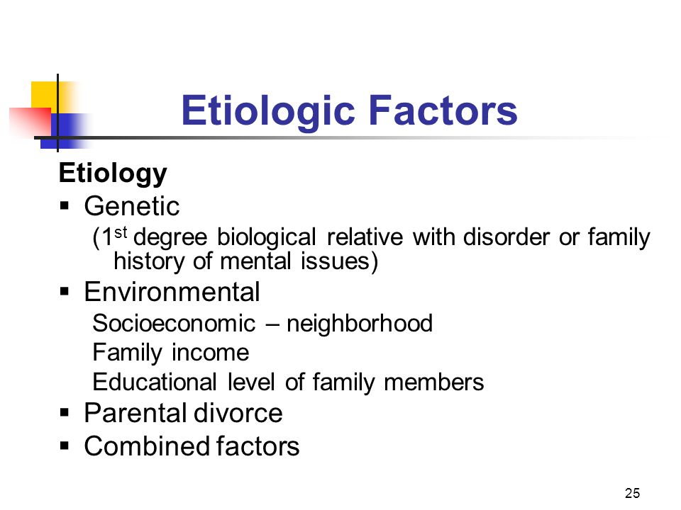 Etiologic Factors Etiology Genetic Environmental Parental divorce