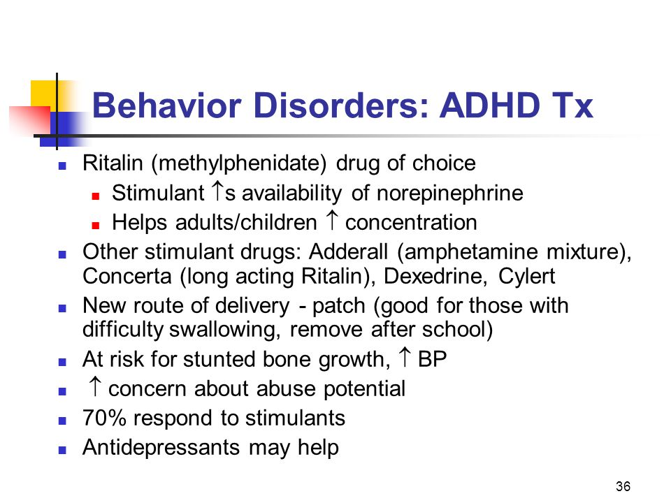 Behavior Disorders: ADHD Tx