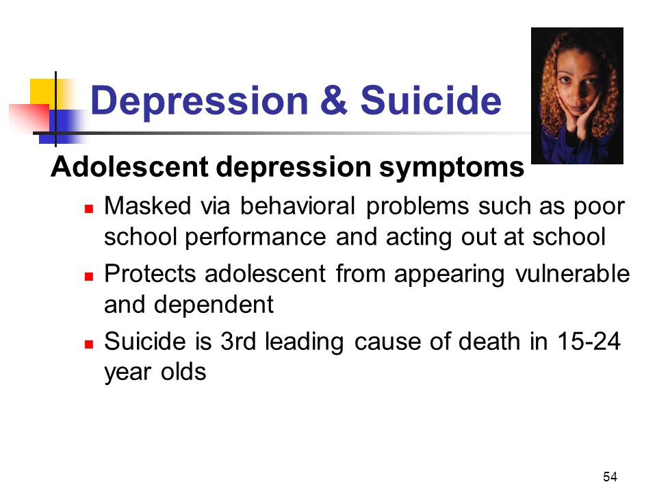 Depression & Suicide Adolescent depression symptoms