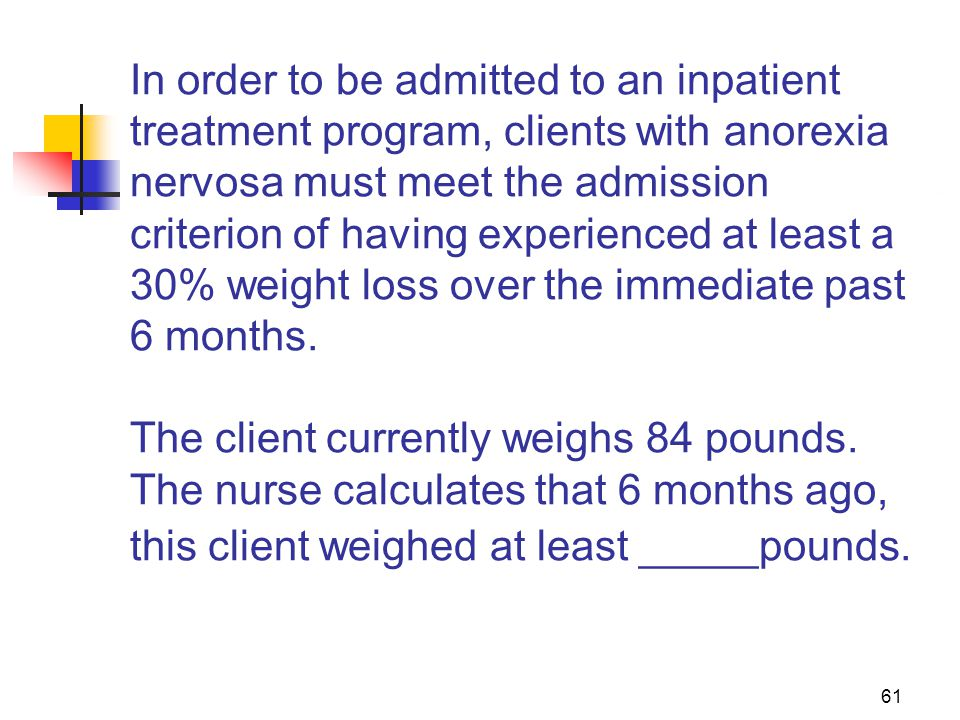 In order to be admitted to an inpatient treatment program, clients with anorexia nervosa must meet the admission criterion of having experienced at least a 30% weight loss over the immediate past 6 months. The client currently weighs 84 pounds. The nurse calculates that 6 months ago, this client weighed at least _____pounds.