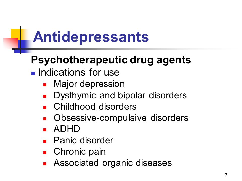 Antidepressants Psychotherapeutic drug agents Indications for use