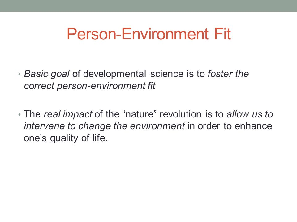 Person-Environment Fit