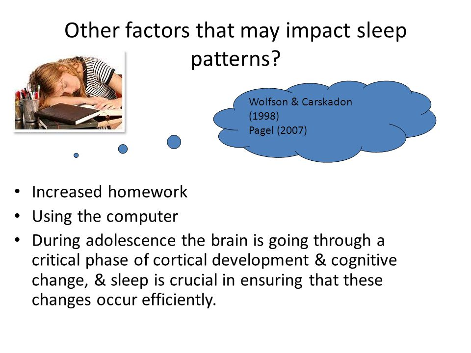 Other factors that may impact sleep patterns