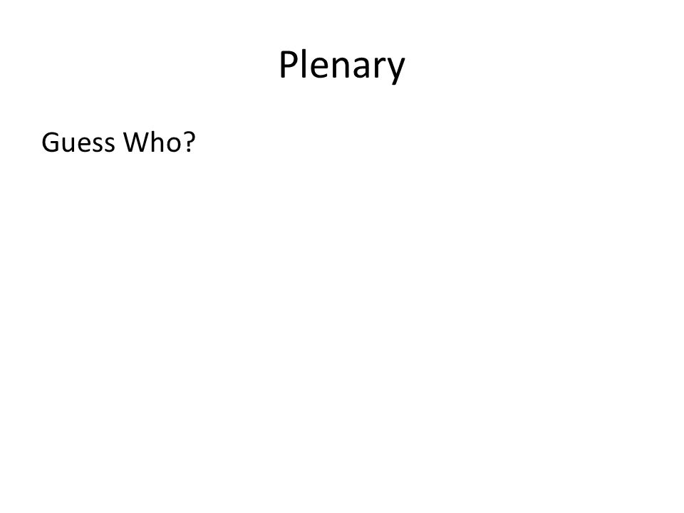 Plenary Guess Who