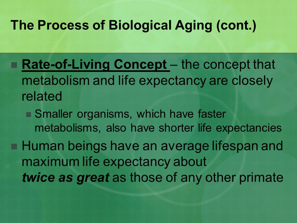 The Process of Biological Aging (cont.)