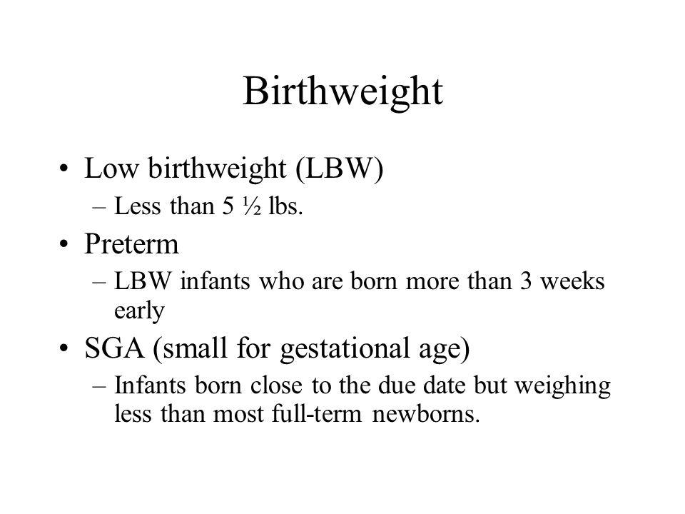 Birthweight Low birthweight (LBW) Preterm