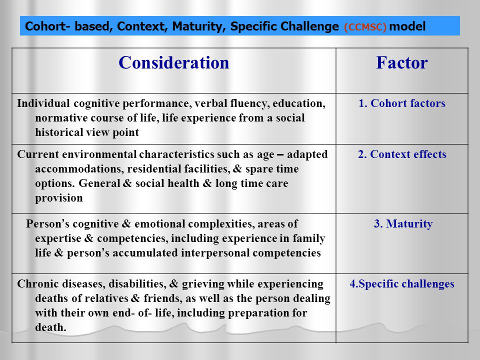 Cohort- based, Context, Maturity, Specific Challenge (CCMSC) model