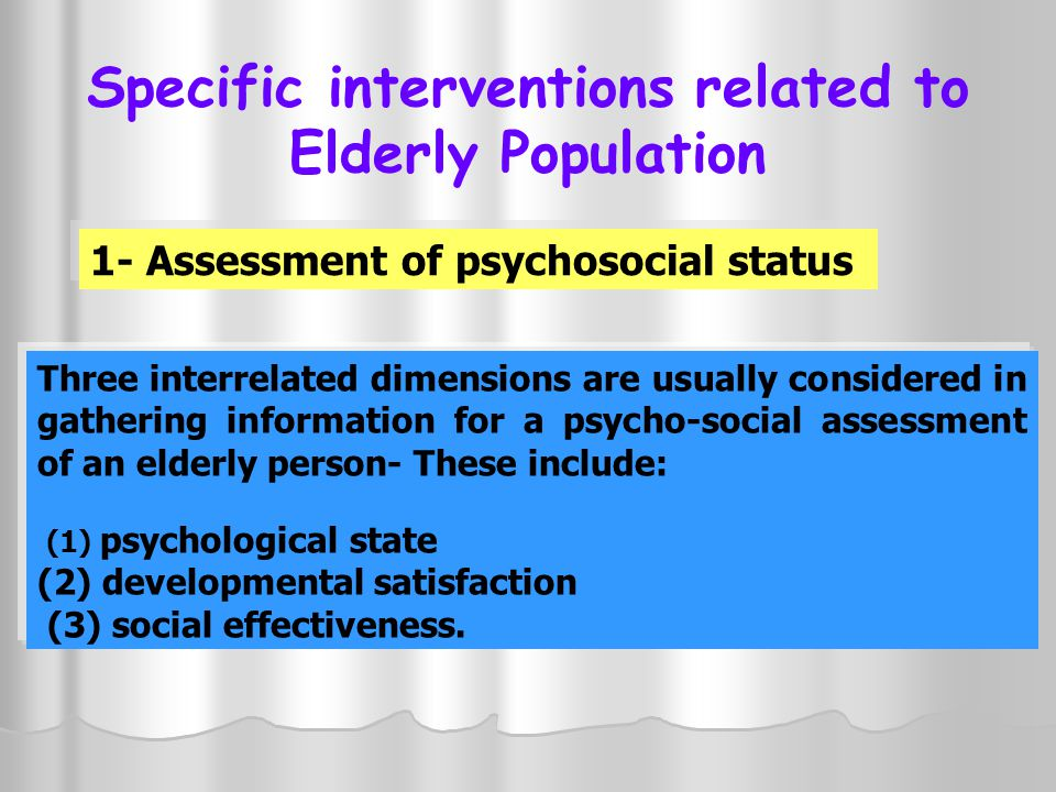 Specific interventions related to Elderly Population