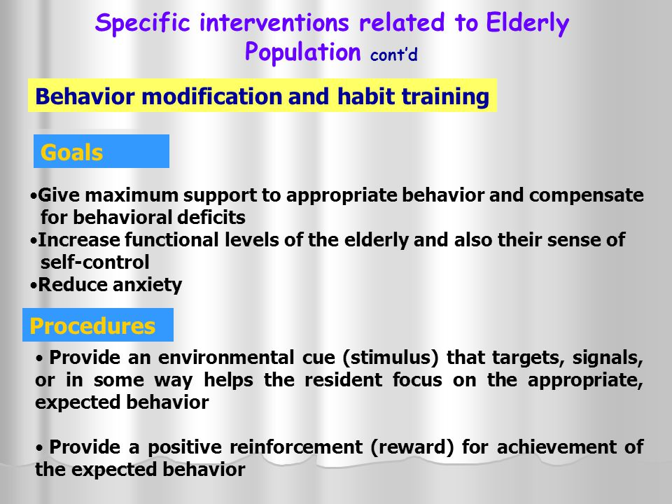 Specific interventions related to Elderly Population cont'd