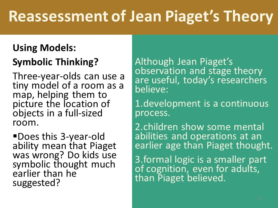 Reassessment of Jean Piaget's Theory