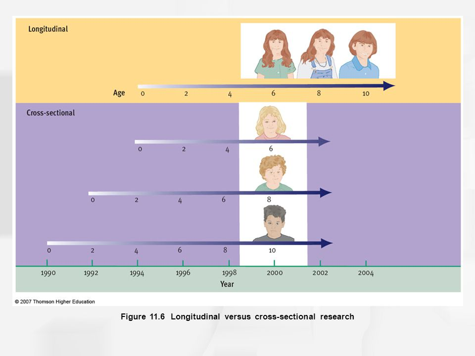 Figure 11.6 Longitudinal versus cross-sectional research