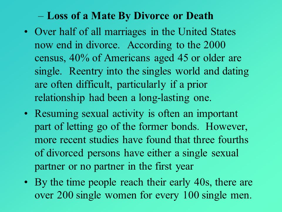 Loss of a Mate By Divorce or Death