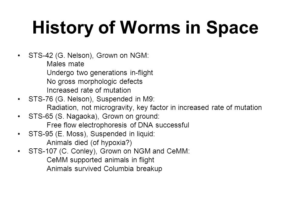 History of Worms in Space