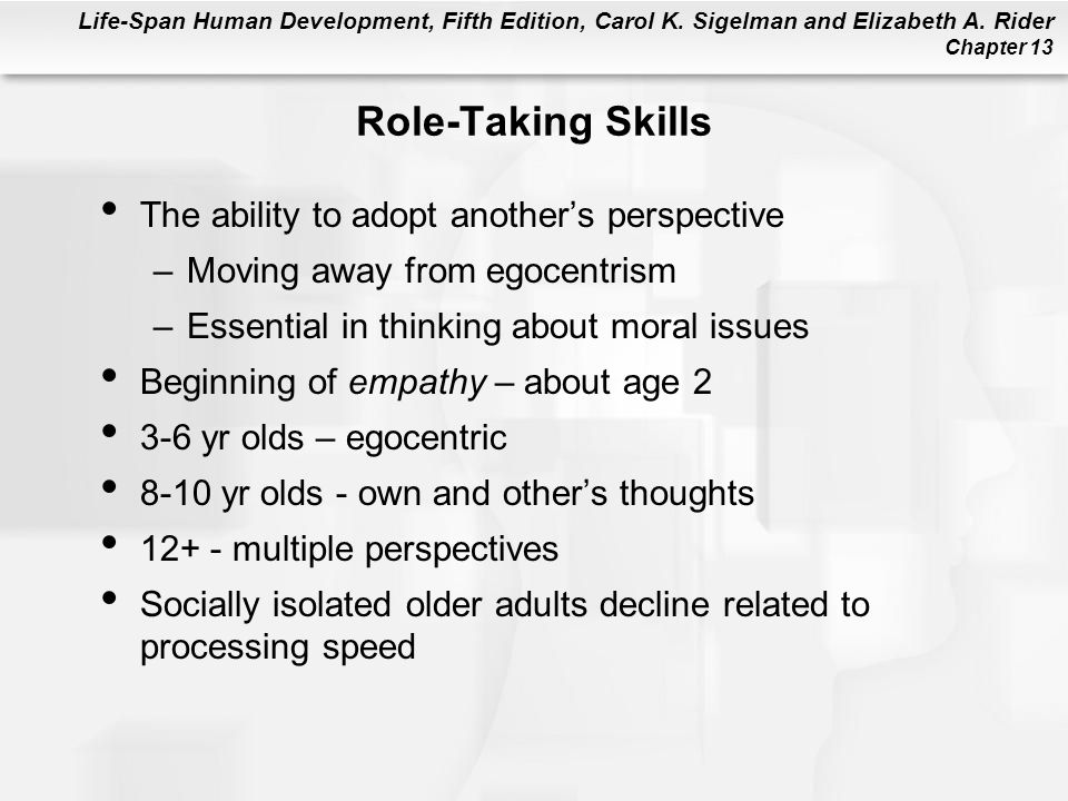 Role-Taking Skills The ability to adopt another's perspective