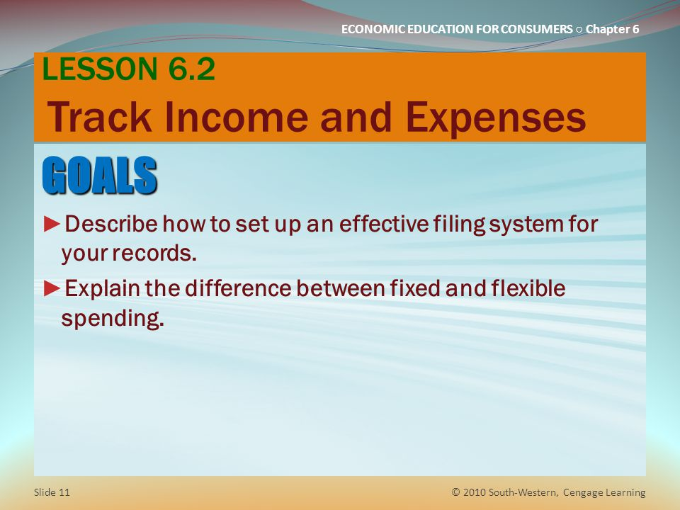 LESSON 6.2 Track Income and Expenses