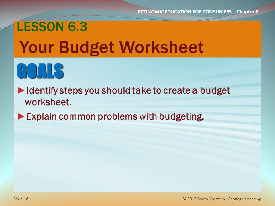 LESSON 6.3 Your Budget Worksheet