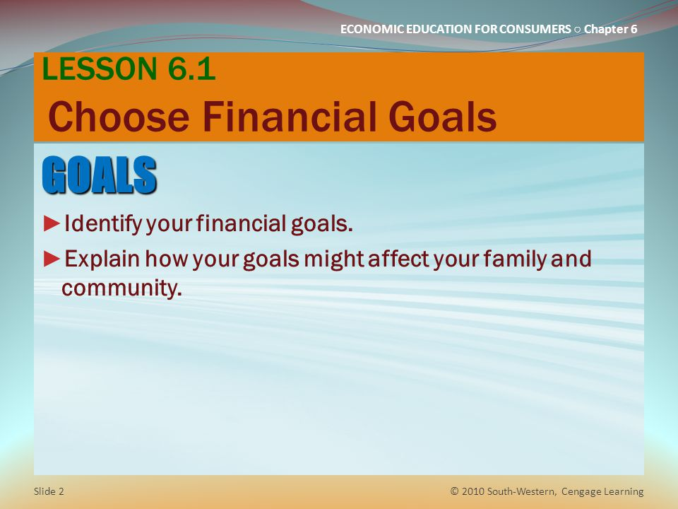 LESSON 6.1 Choose Financial Goals