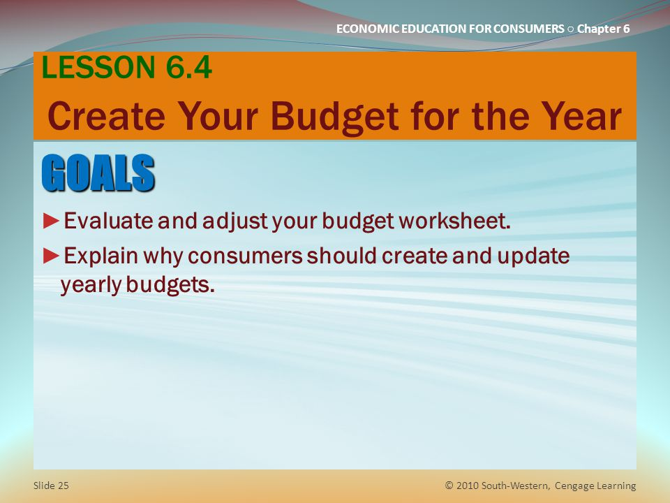 LESSON 6.4 Create Your Budget for the Year