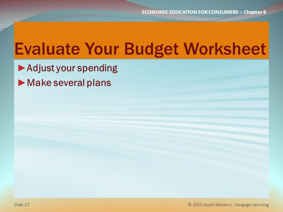 Evaluate Your Budget Worksheet