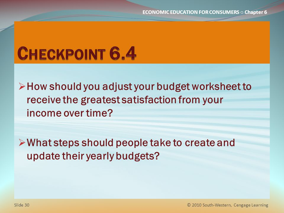 Checkpoint 6.4 How should you adjust your budget worksheet to receive the greatest satisfaction from your income over time