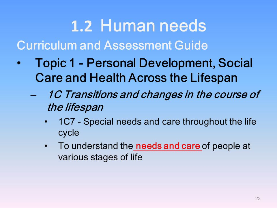 1.2 Human needs Curriculum and Assessment Guide