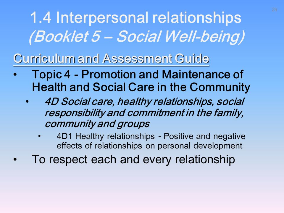 1.4 Interpersonal relationships (Booklet 5 – Social Well-being)