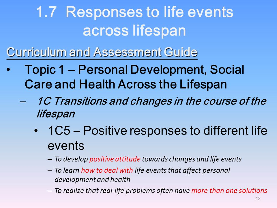 1.7 Responses to life events across lifespan