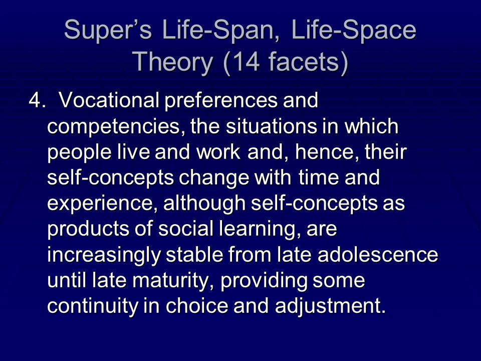 Super's Life-Span, Life-Space Theory (14 facets)