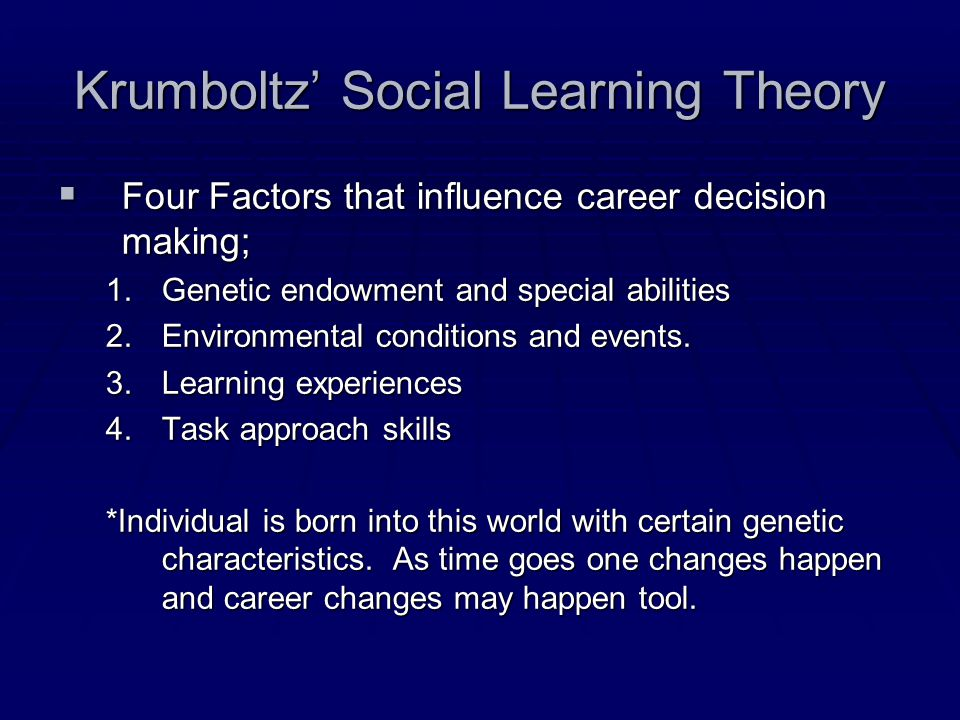 Krumboltz' Social Learning Theory