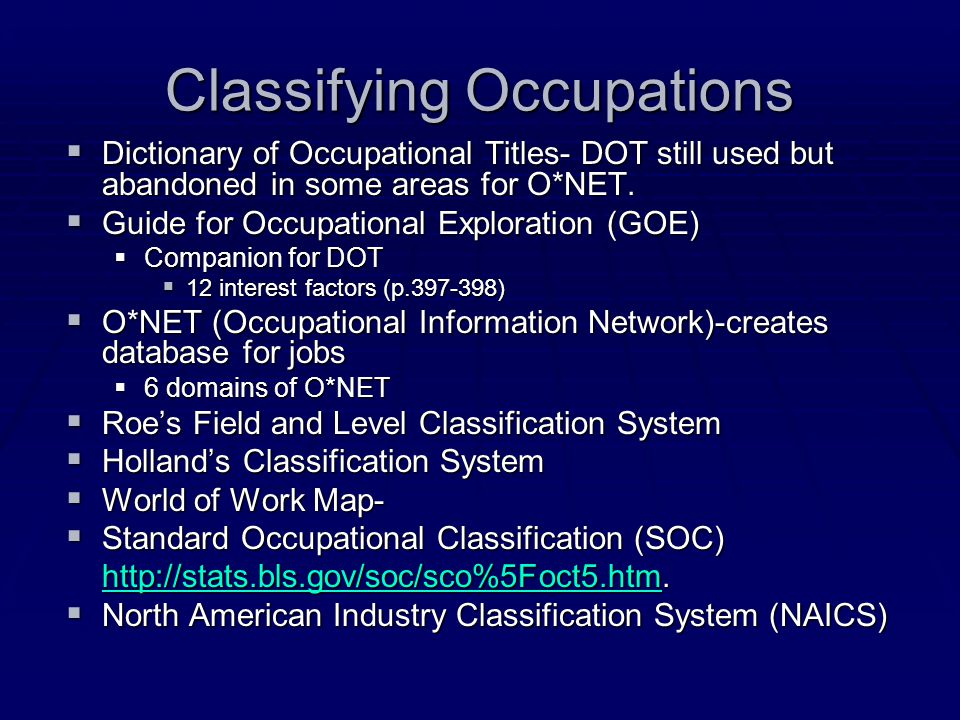 Classifying Occupations