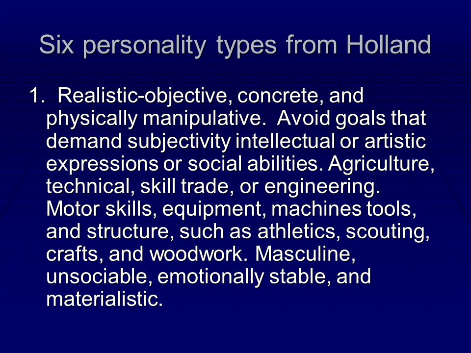 Six personality types from Holland