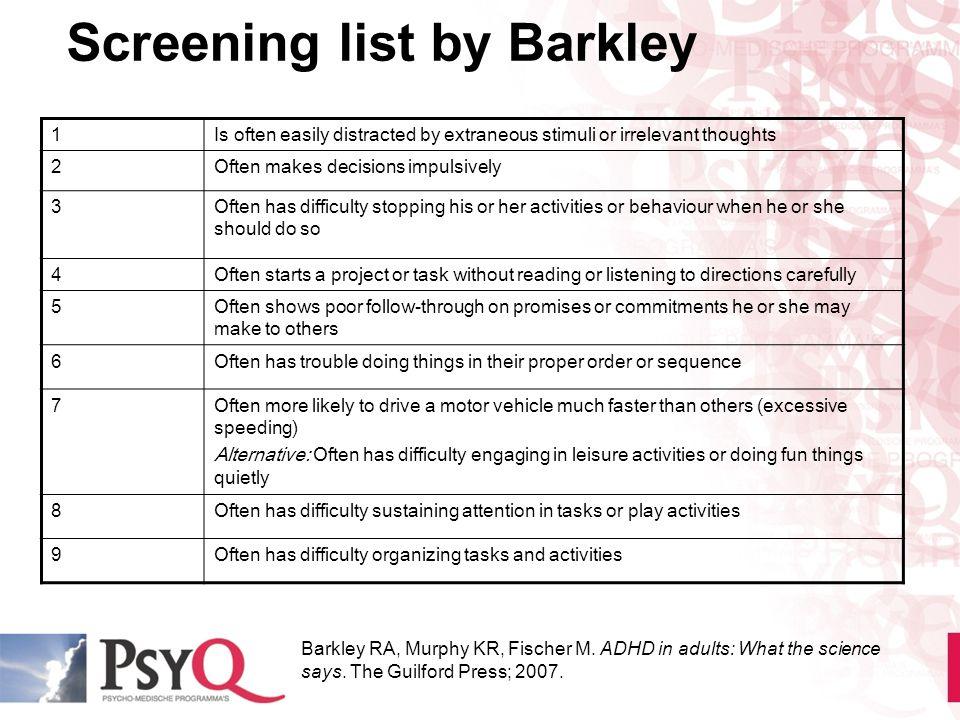 Screening list by Barkley