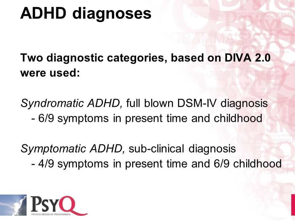 ADHD diagnoses Two diagnostic categories, based on DIVA 2.0 were used: