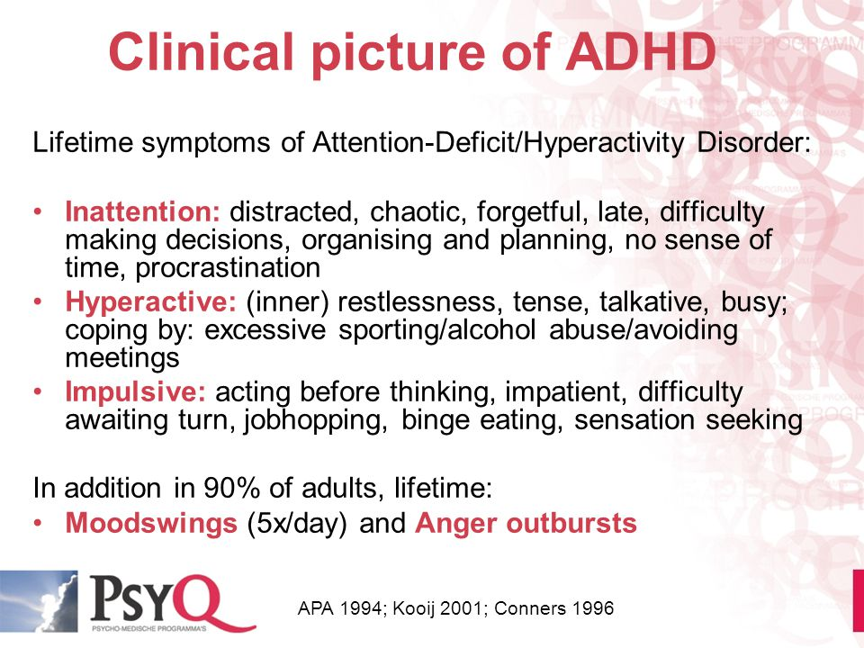 Clinical picture of ADHD