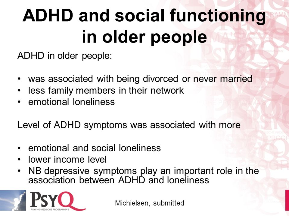ADHD and social functioning in older people