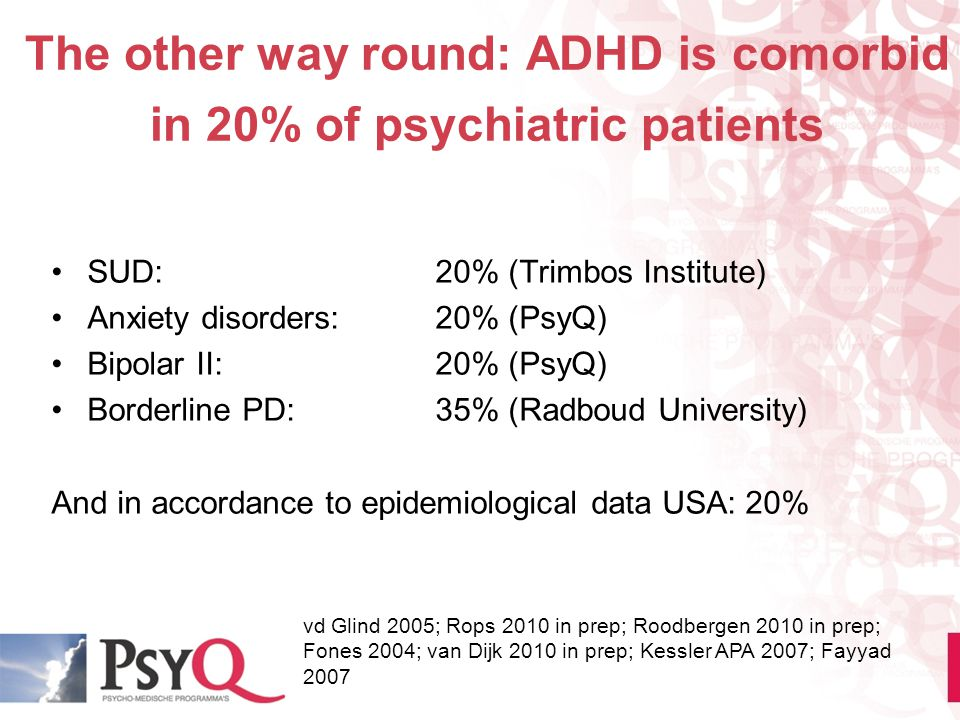 The other way round: ADHD is comorbid in 20% of psychiatric patients