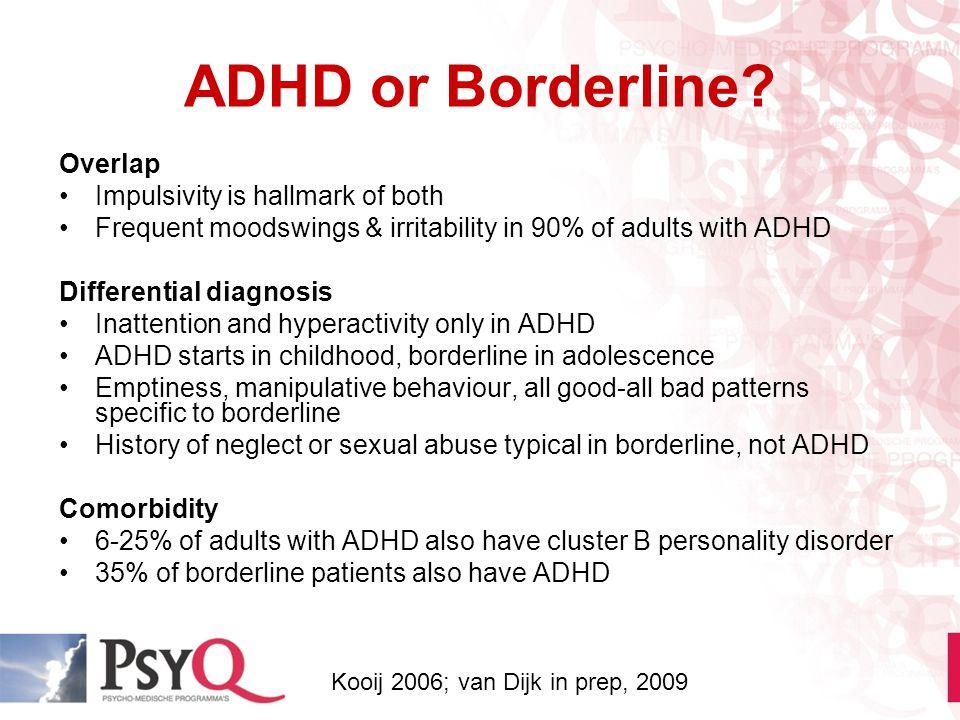 ADHD or Borderline Overlap Impulsivity is hallmark of both