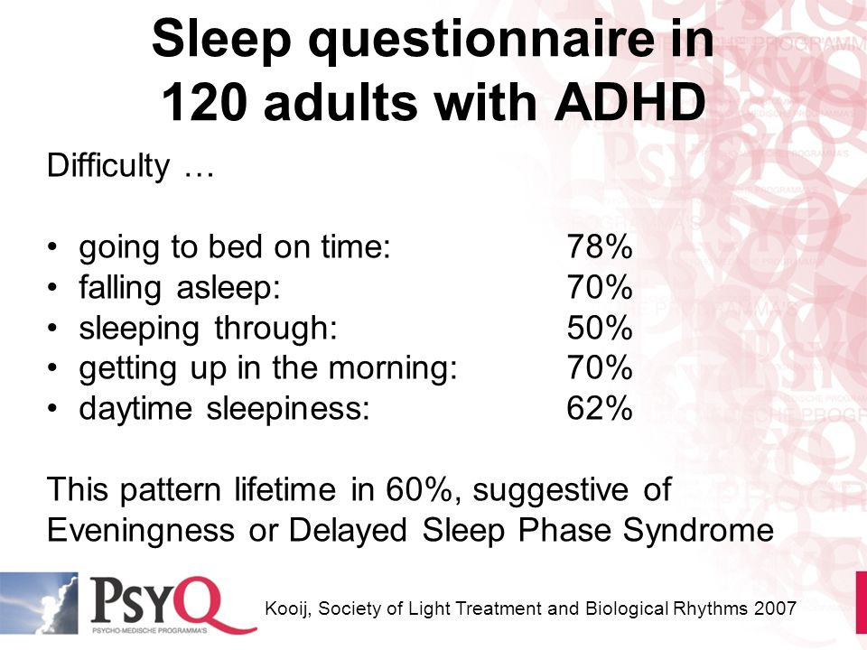 Sleep questionnaire in 120 adults with ADHD