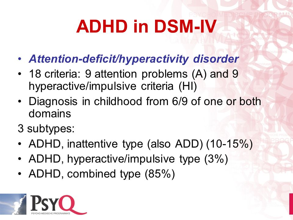 ADHD in DSM-IV Attention-deficit/hyperactivity disorder