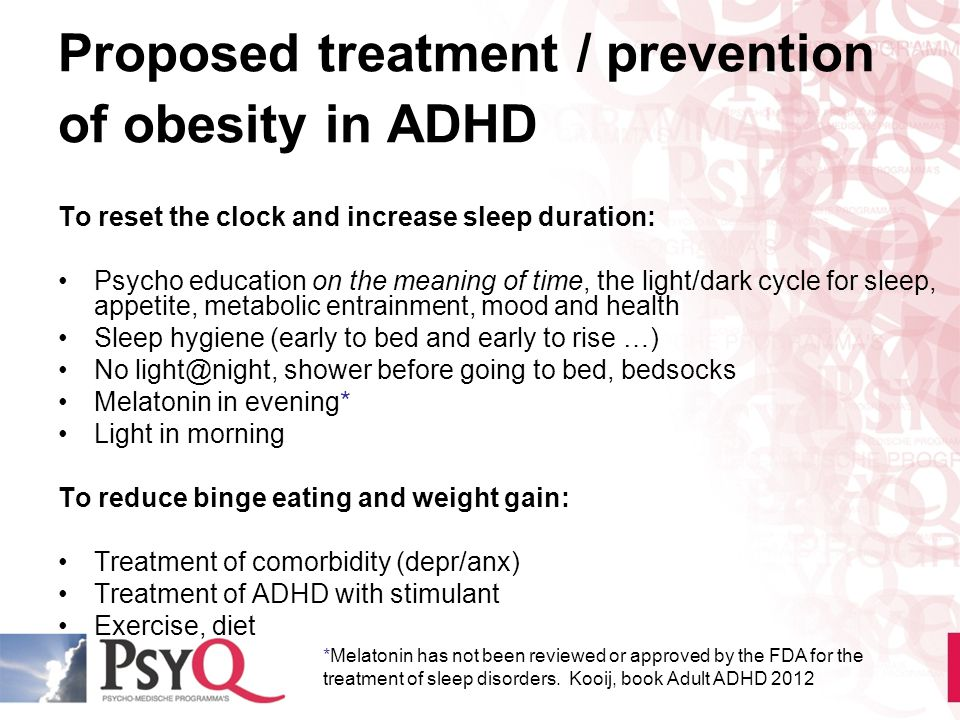 Proposed treatment / prevention of obesity in ADHD