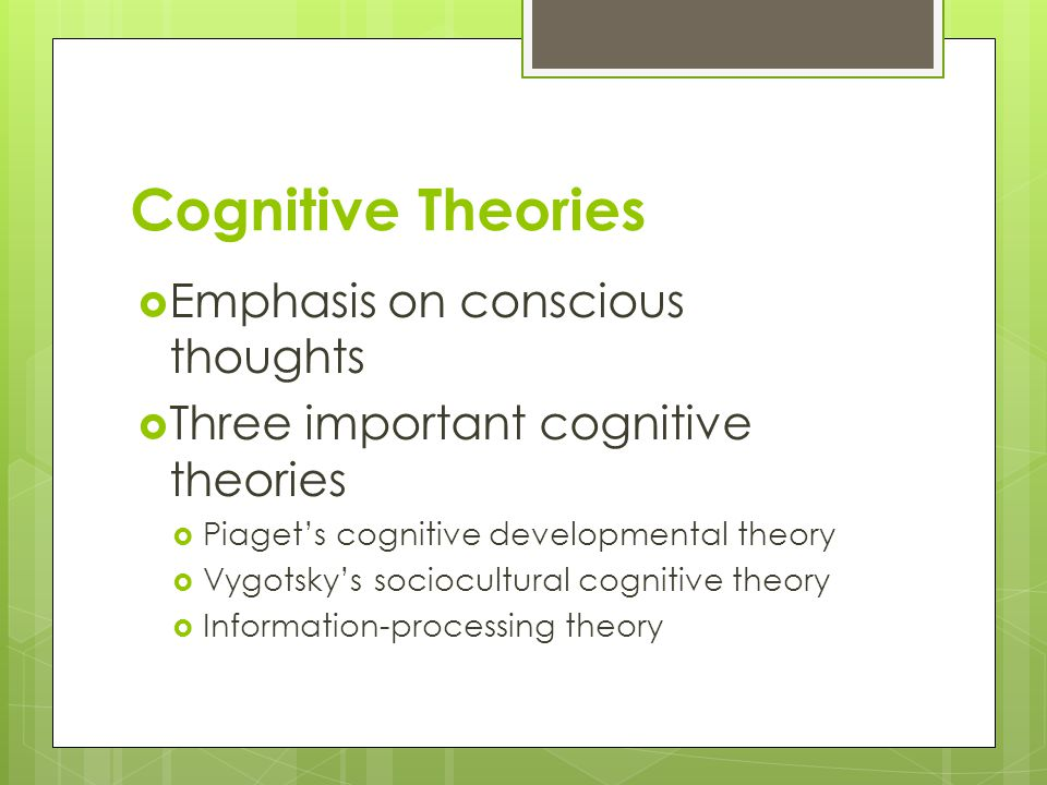 Cognitive Theories Emphasis on conscious thoughts