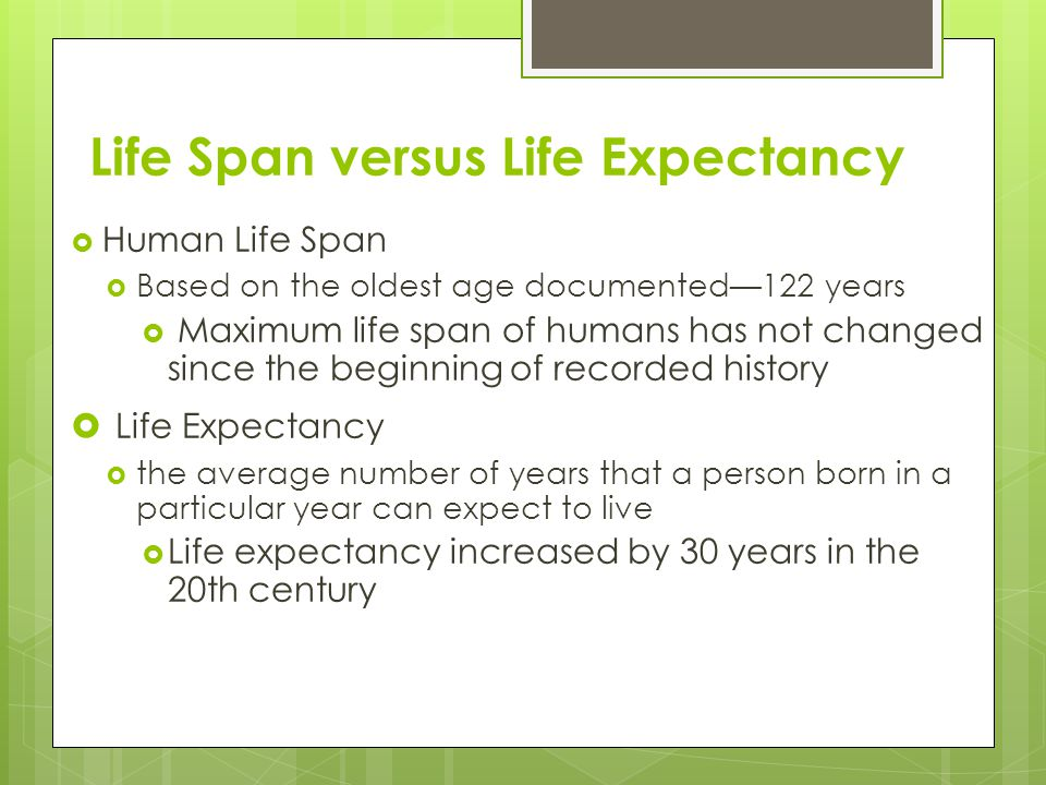 Life Span versus Life Expectancy